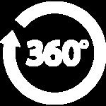 360 degree white icon